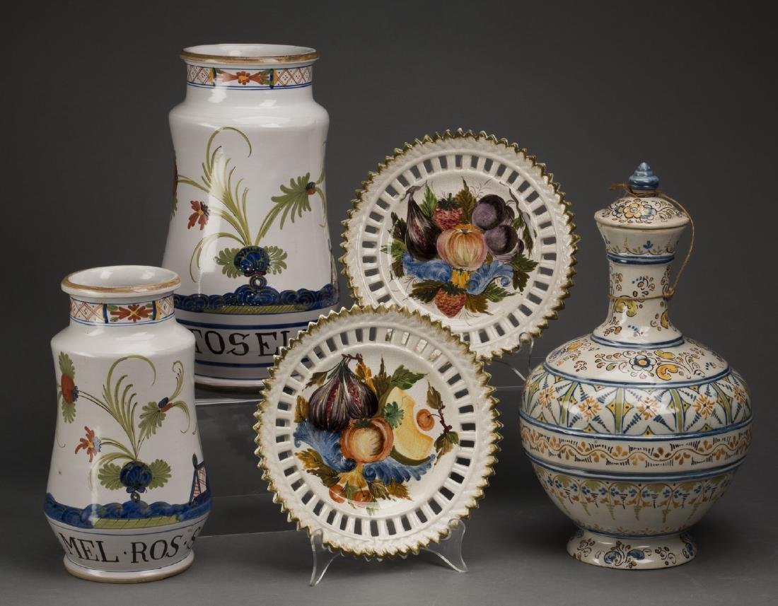 5-Piece grouping of French and Spanish pottery