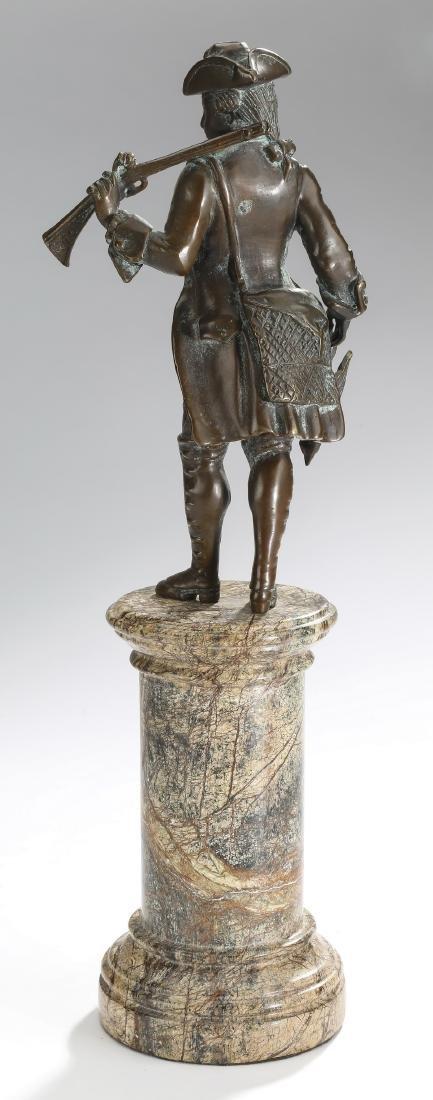 'Bird Hunting' patinated metal & marble sculpture - 3