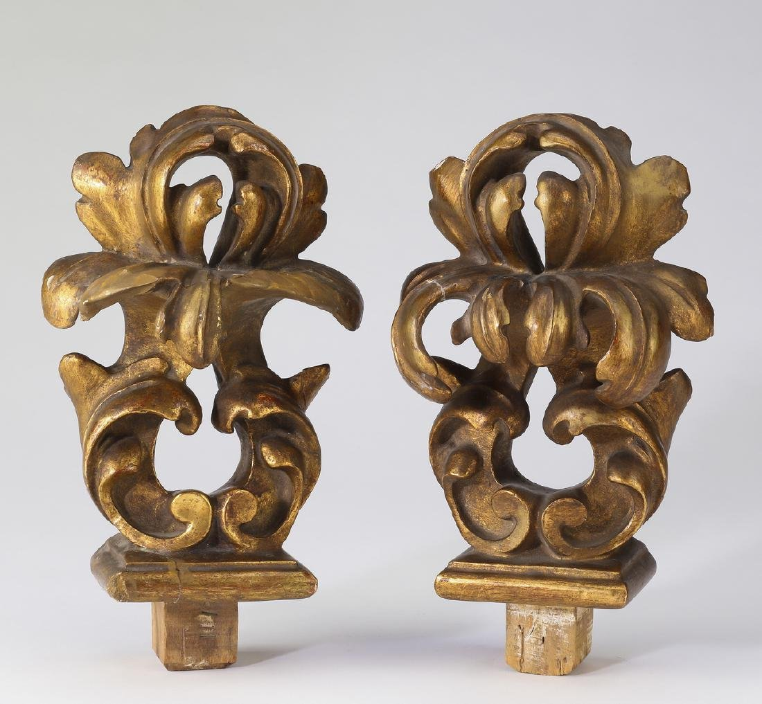(2) Continental carved giltwood architectural finials