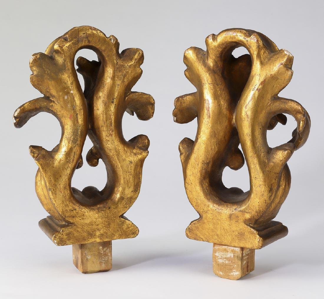 (2) Continental carved giltwood architectural finials - 2