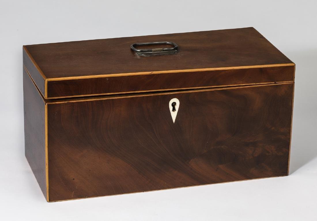 19th c. mahogany and satinwood tea caddy