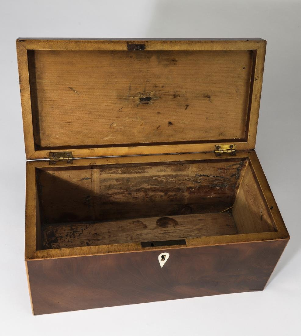 19th c. mahogany and satinwood tea caddy - 2