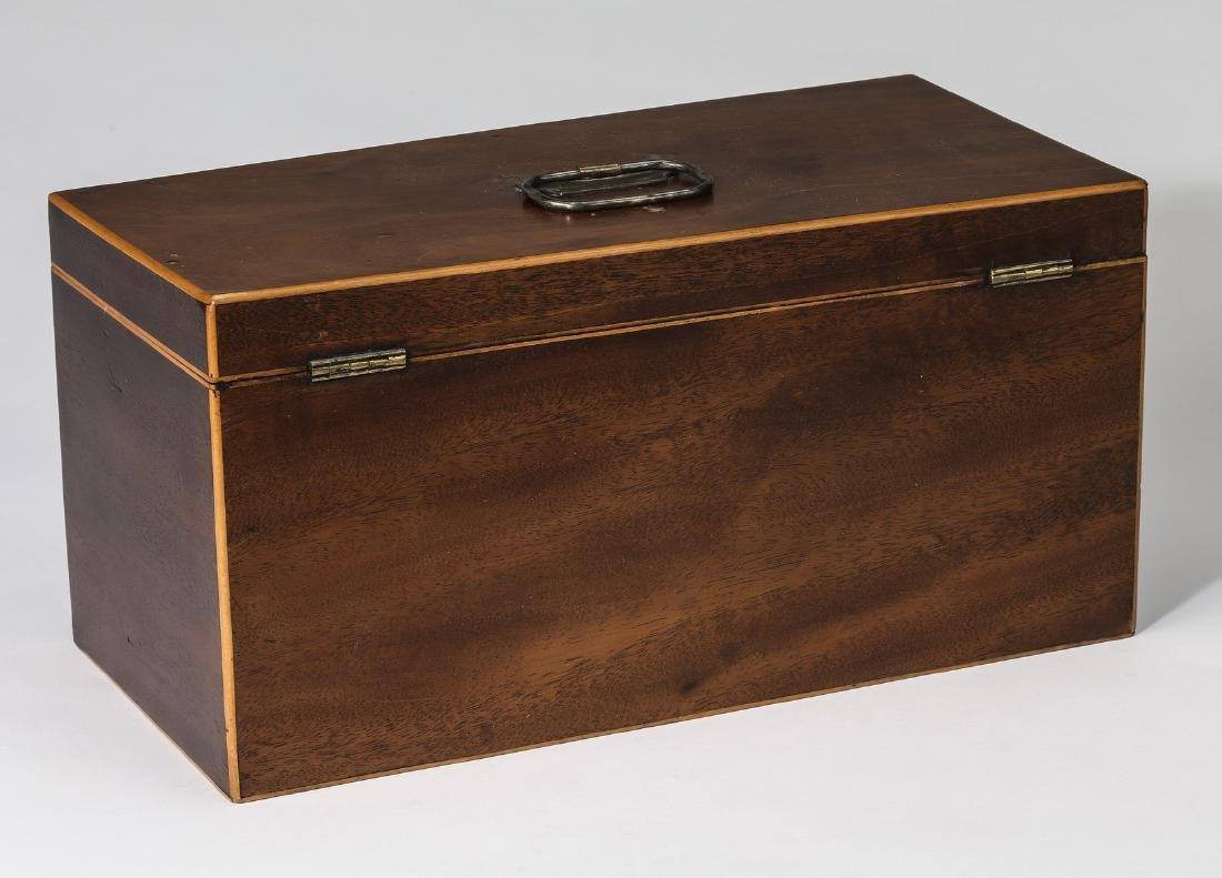 19th c. mahogany and satinwood tea caddy - 3