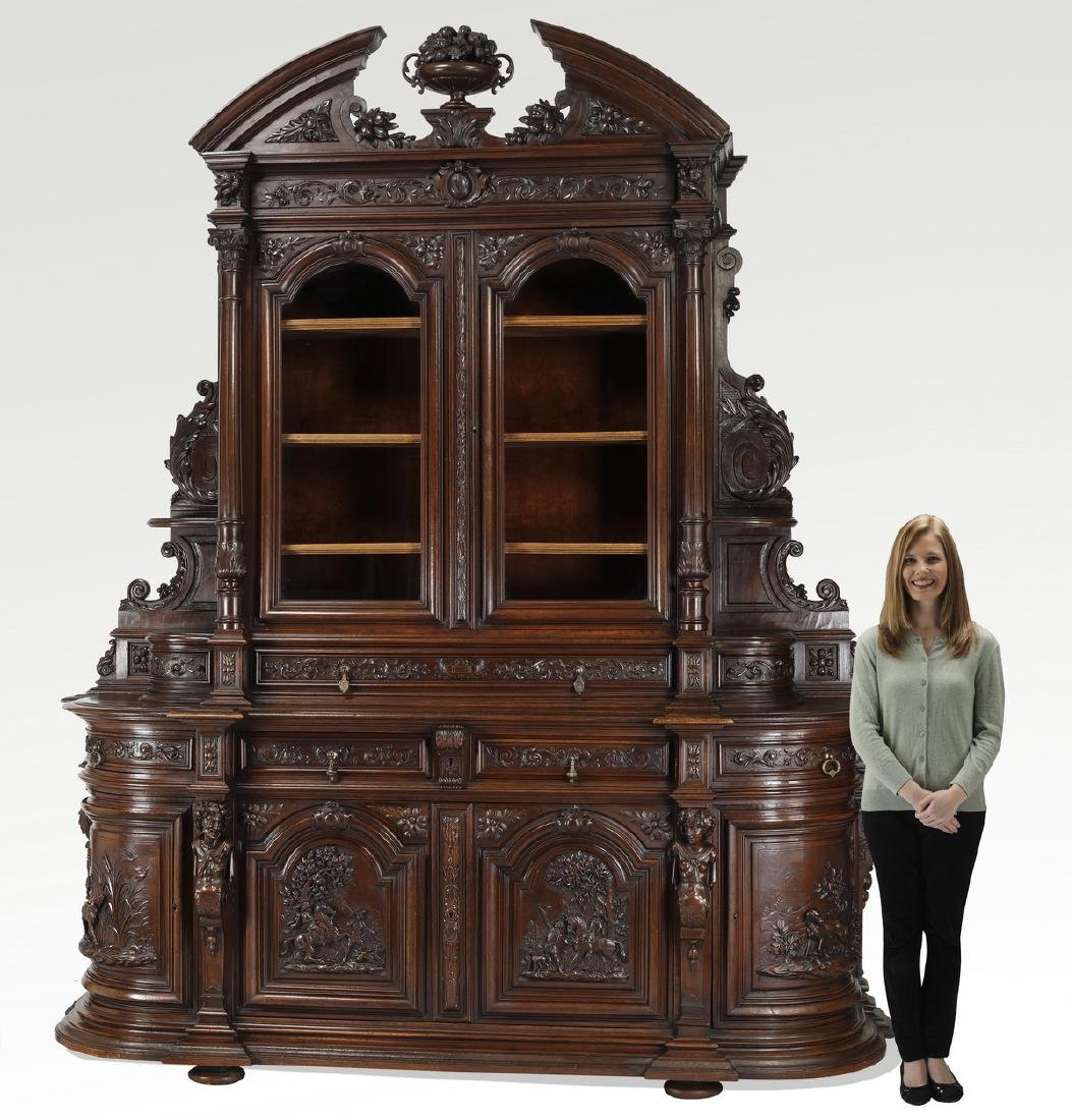 Monumental French buffet with carved hunting scenes