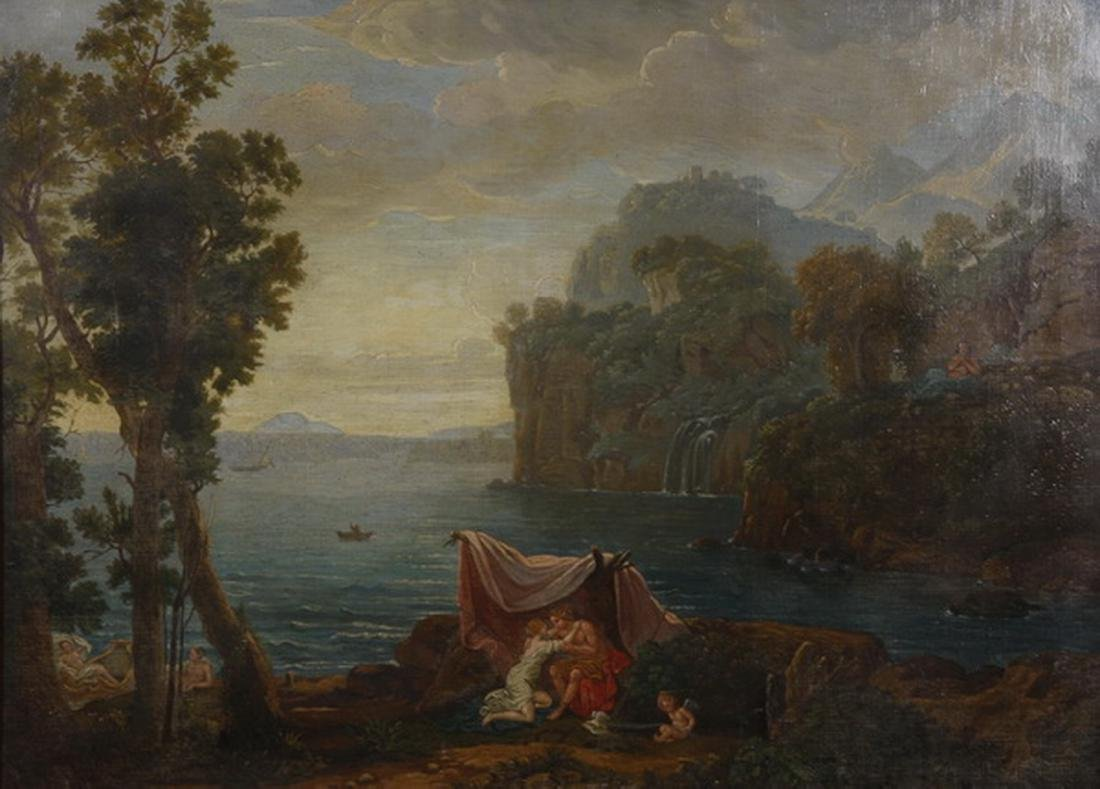 After Claude Lorrain, 19th c O/c of 'Acis & Galatea' - 2