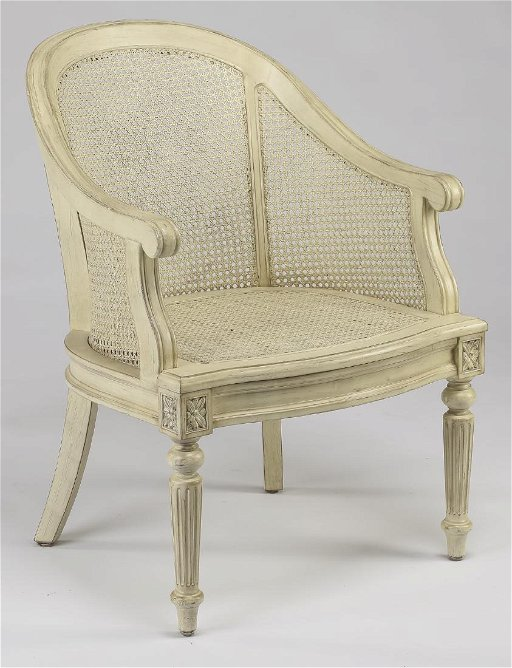 French Provincial Style Caned Painted Tub Chair