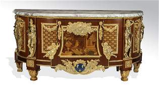 Louis XVI style gilt bronze, marquetry inlaid commode