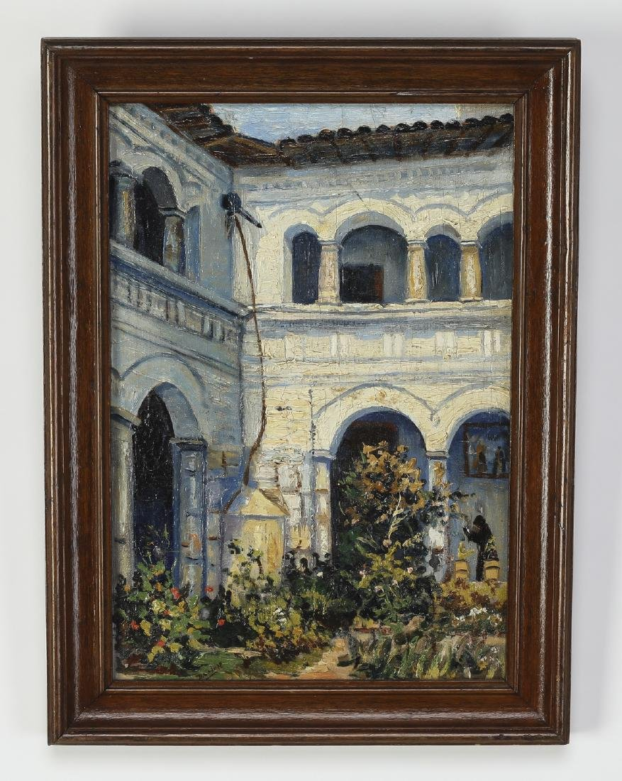 Early 20th c. Spanish O/c garden courtyard scene