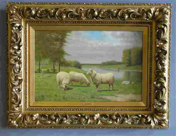 Clinton Loveridge signed O/c, grazing sheep, 19th c.
