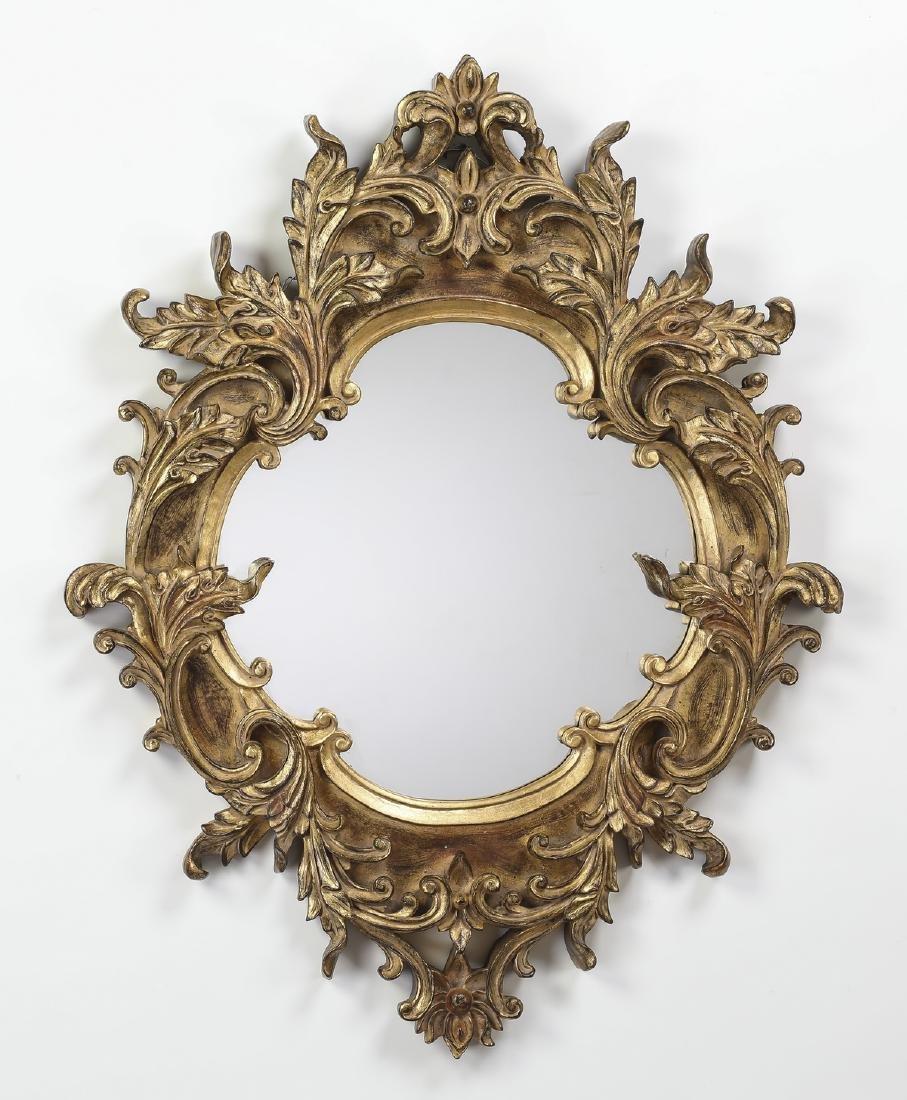 "Louis XV style gilt wood mirror, 41""h"