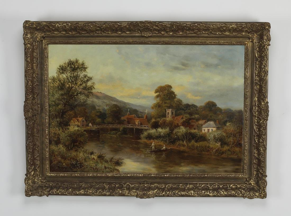 Early 20th c. Continental O/c landscape with village
