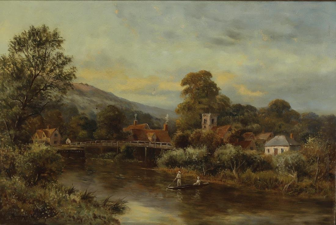 Early 20th c. Continental O/c landscape with village - 2