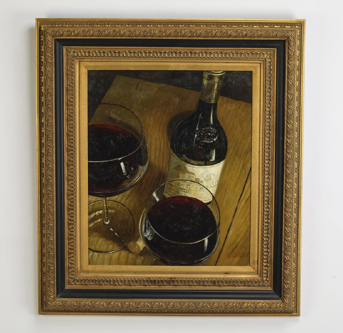 W. Carey signed O/c still life with bottle of wine