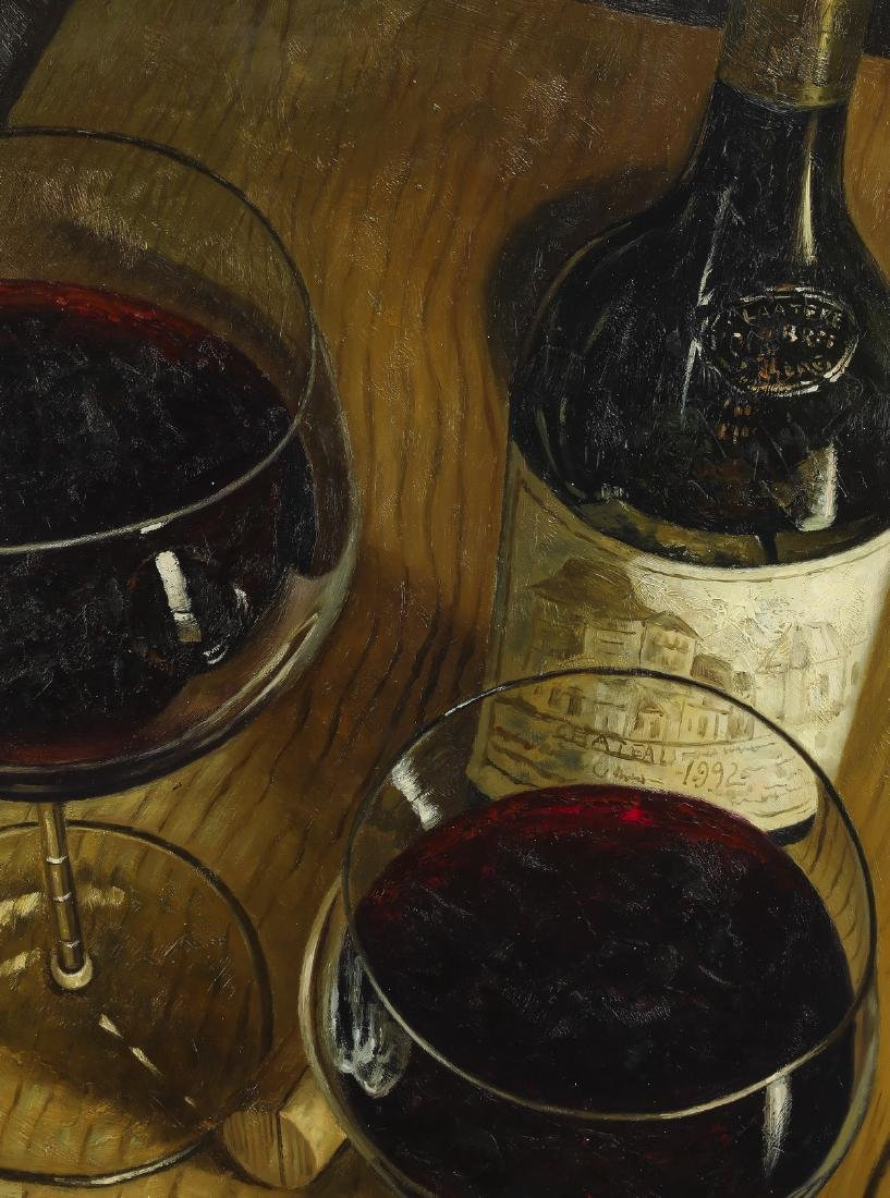 W. Carey signed O/c still life with bottle of wine - 2