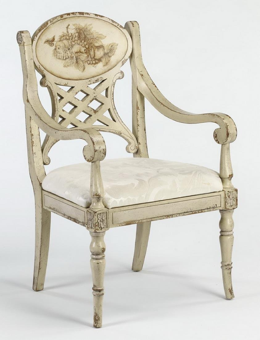 French Provincial style paint decorated armchair