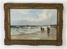 Early 20th c Dutch Oc coastal scene signed Milny