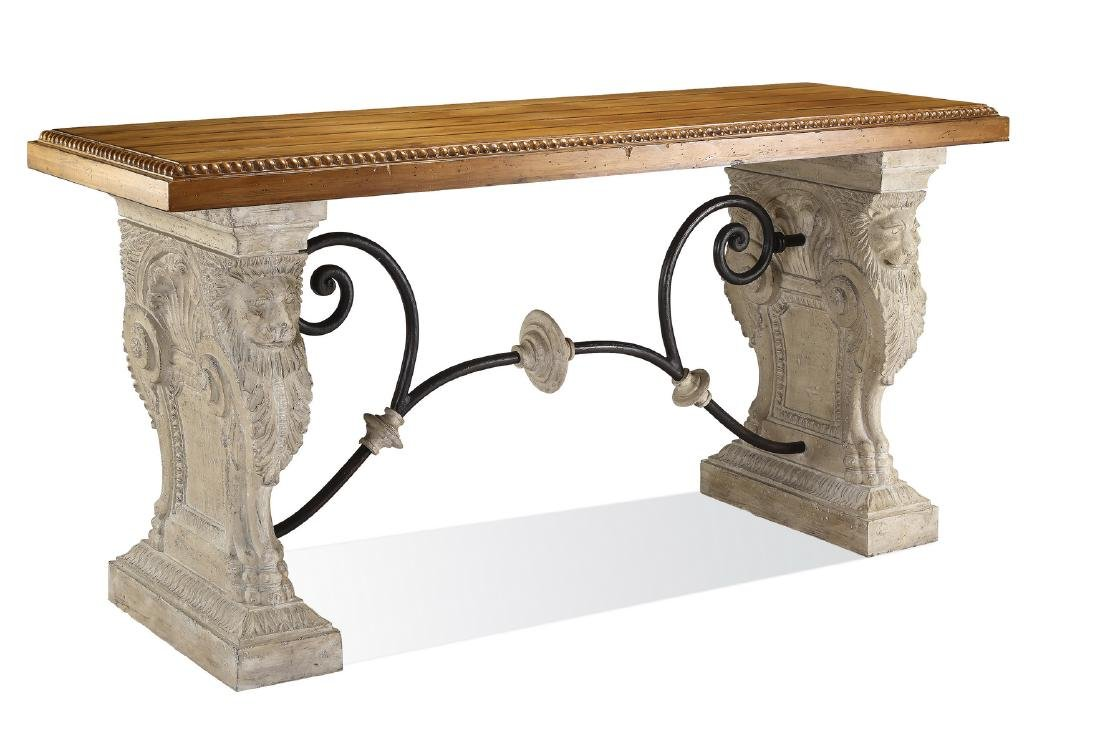 Neoclassical style faux stone, iron and wood console