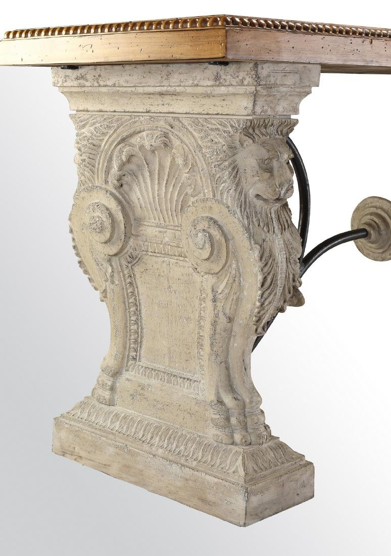 Neoclassical style faux stone, iron and wood console - 2