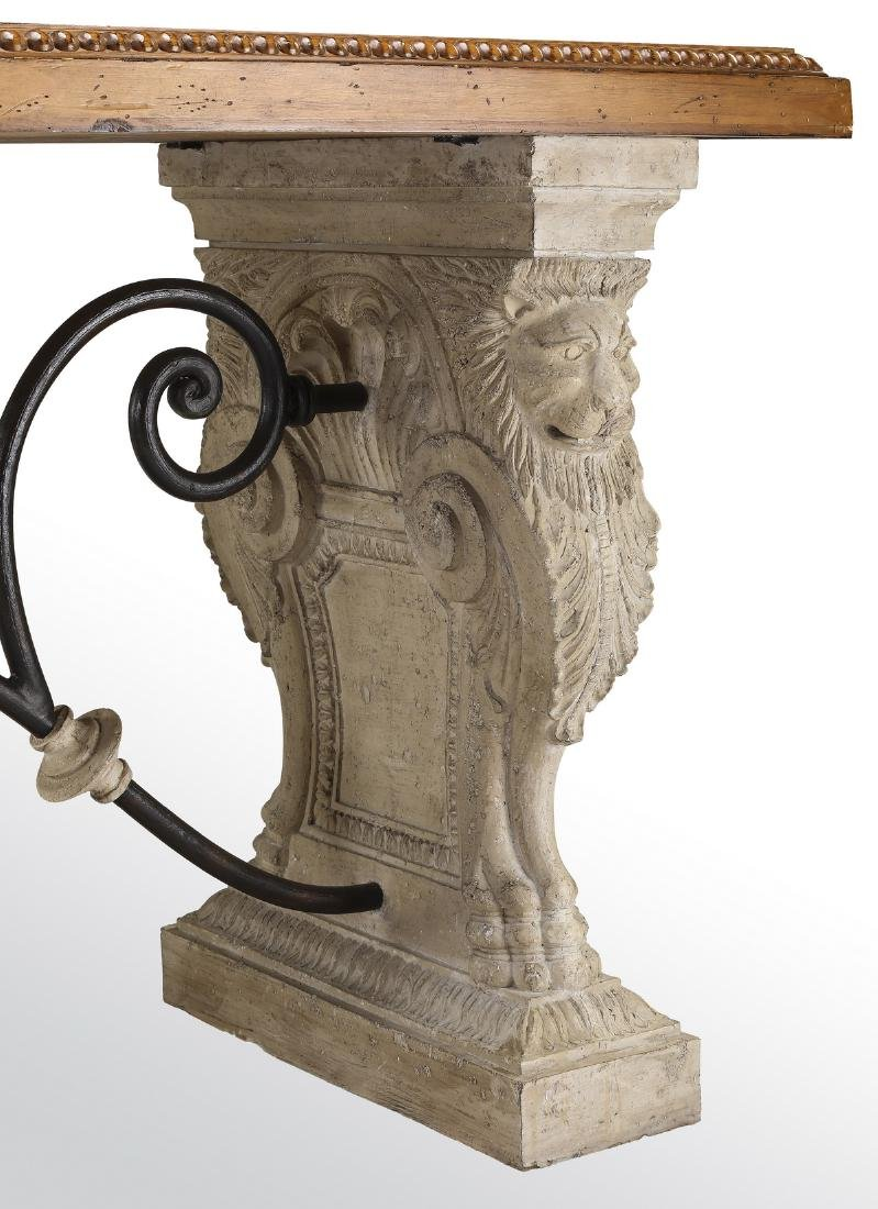Neoclassical style faux stone, iron and wood console - 3