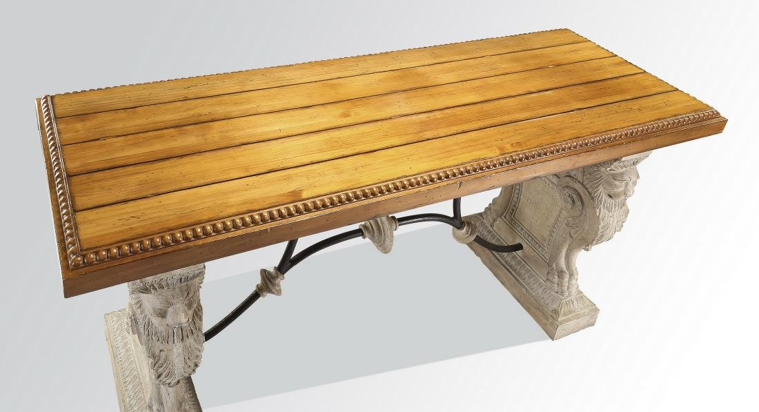 Neoclassical style faux stone, iron and wood console - 4