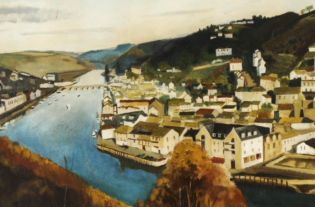 "American School O/b river landscape, signed, 44""w - 2"