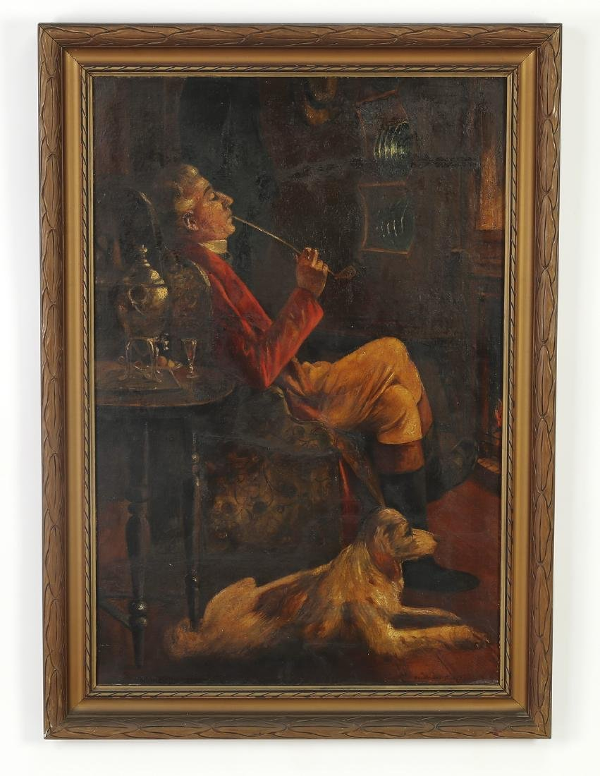 Style of Verplanck Birney, O/b of smoking man w/dog