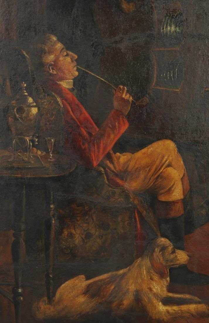 Style of Verplanck Birney, O/b of smoking man w/dog - 2