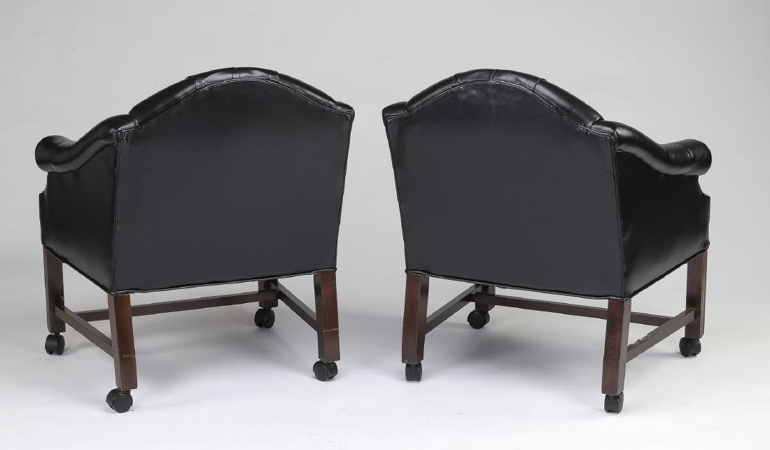 (2) Button-tufted leather club chairs on casters - 2