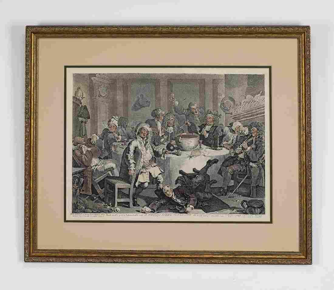 18th c. William Hogarth hand colored engraving