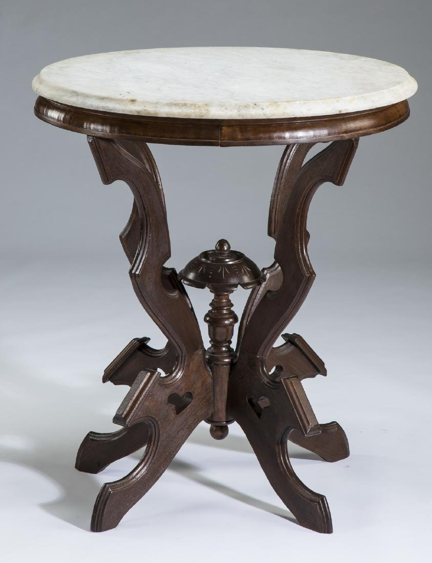19th c. American walnut marble top side table