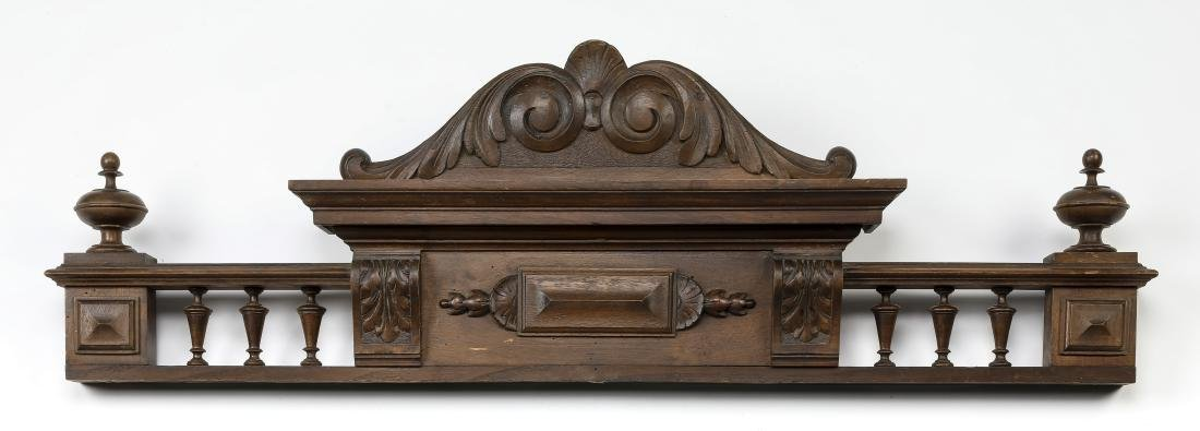 """Early 20th c Continental carved pediment, 37""""l"""