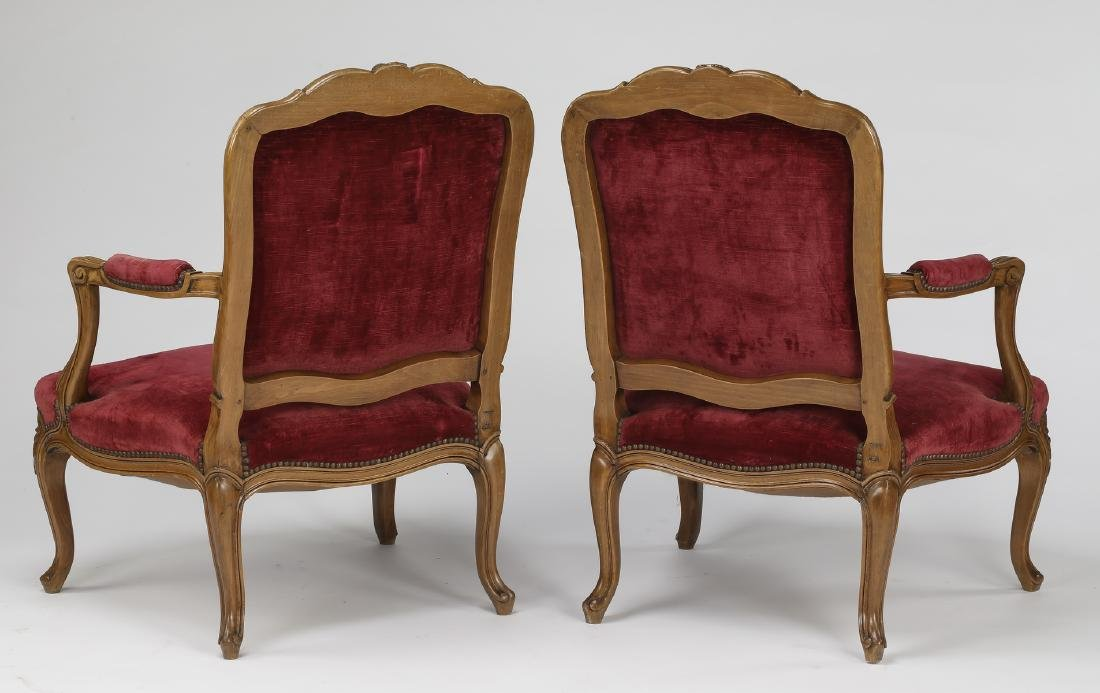 (2) Early 20th c. French walnut armchairs in velvet - 2