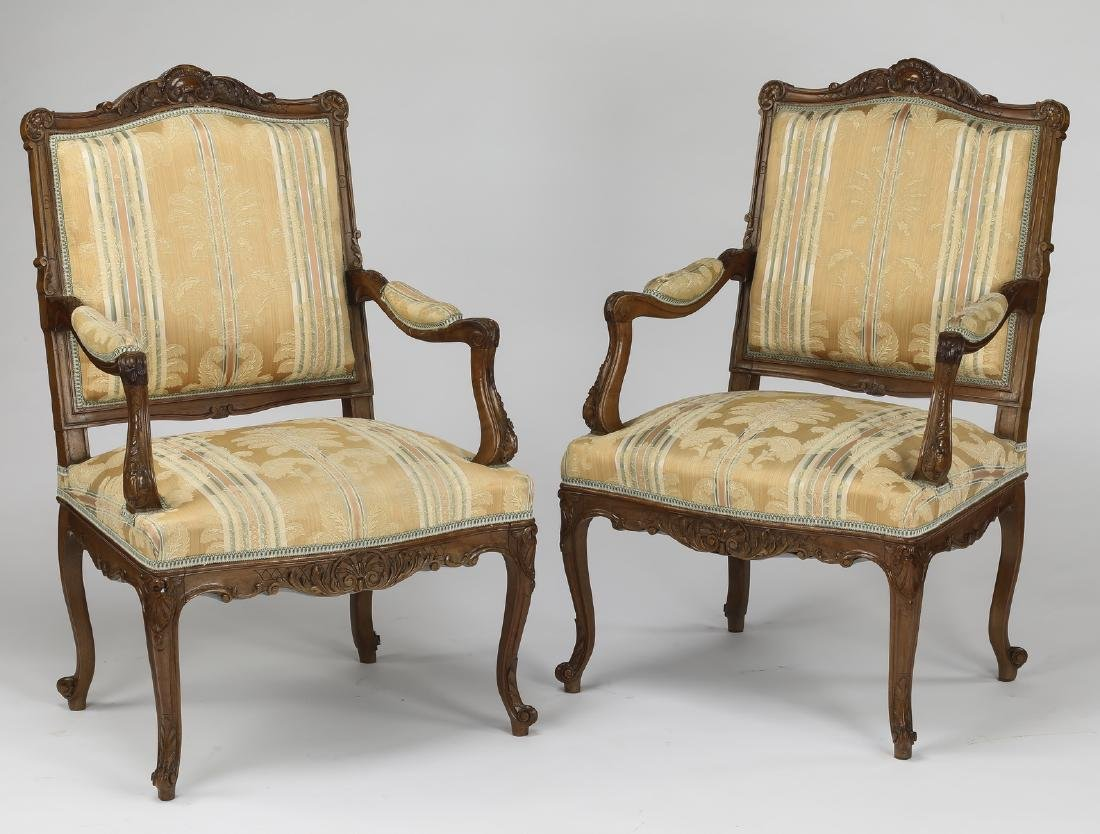 (2) Early 20th c. French carved walnut armchairs