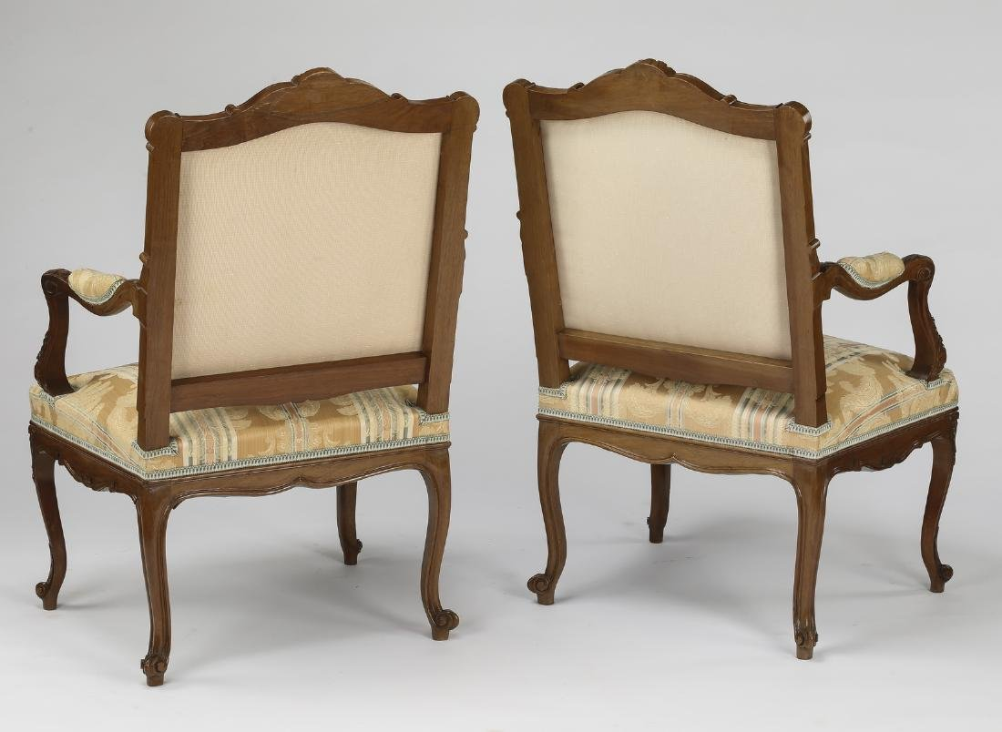 (2) Early 20th c. French carved walnut armchairs - 2