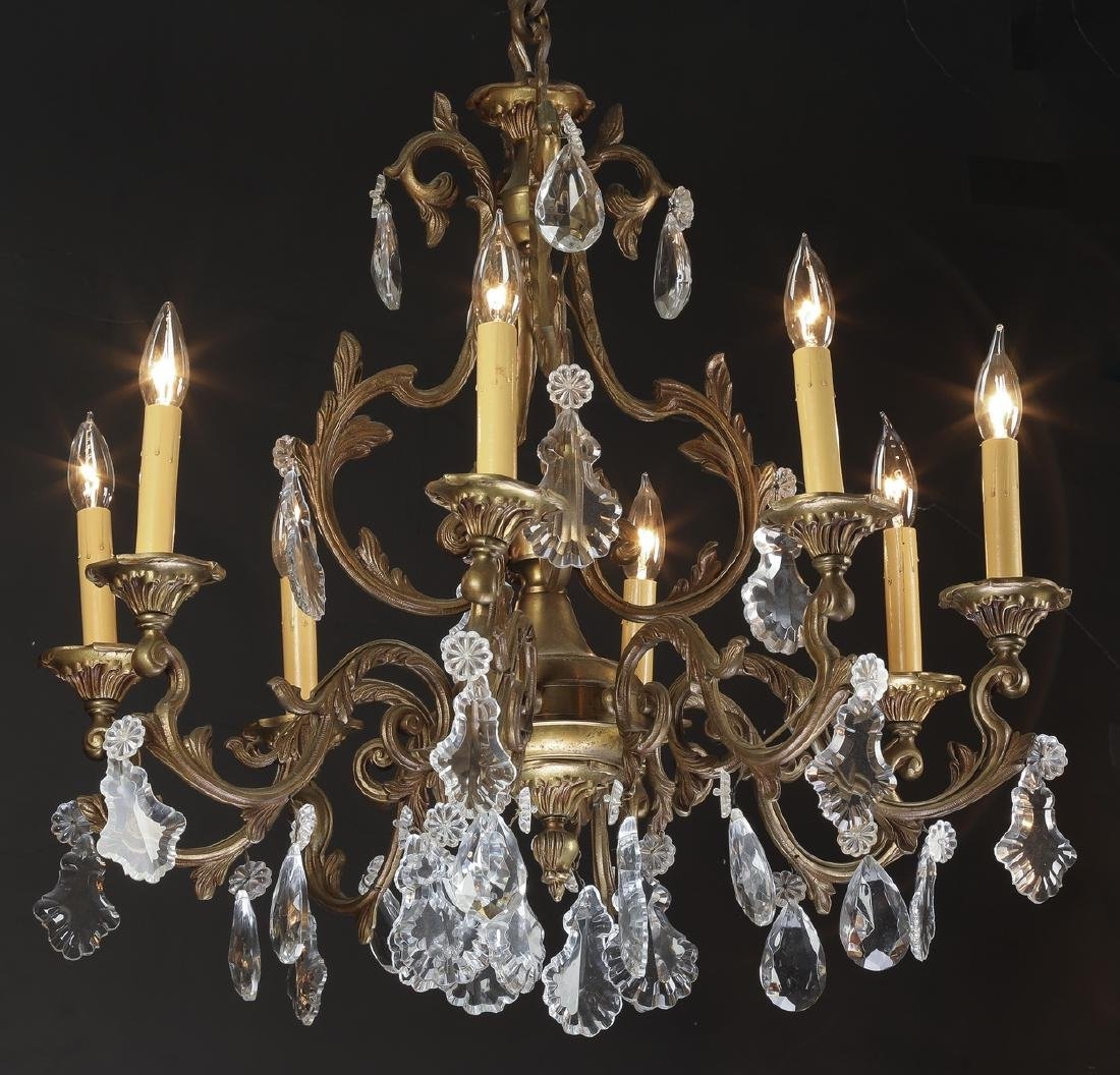 Early 20th c. bronze & crystal chandelier
