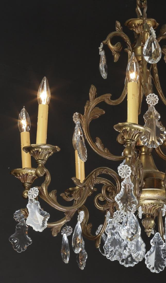 Early 20th c. bronze & crystal chandelier - 2