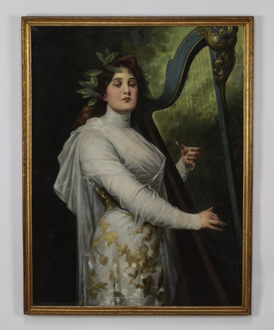 Early 20th c. Continental O/c harpist portrait signed