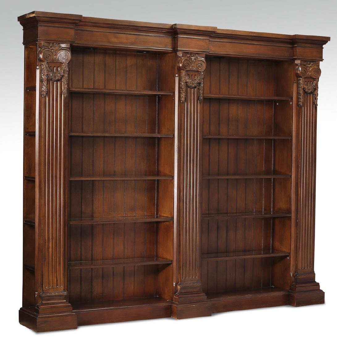 Neoclassical style mahogany bookcase w/ lights