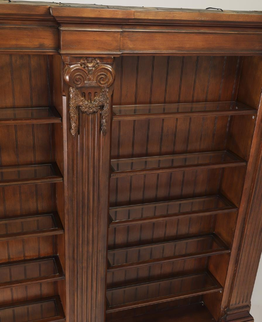 Neoclassical style mahogany bookcase w/ lights - 2