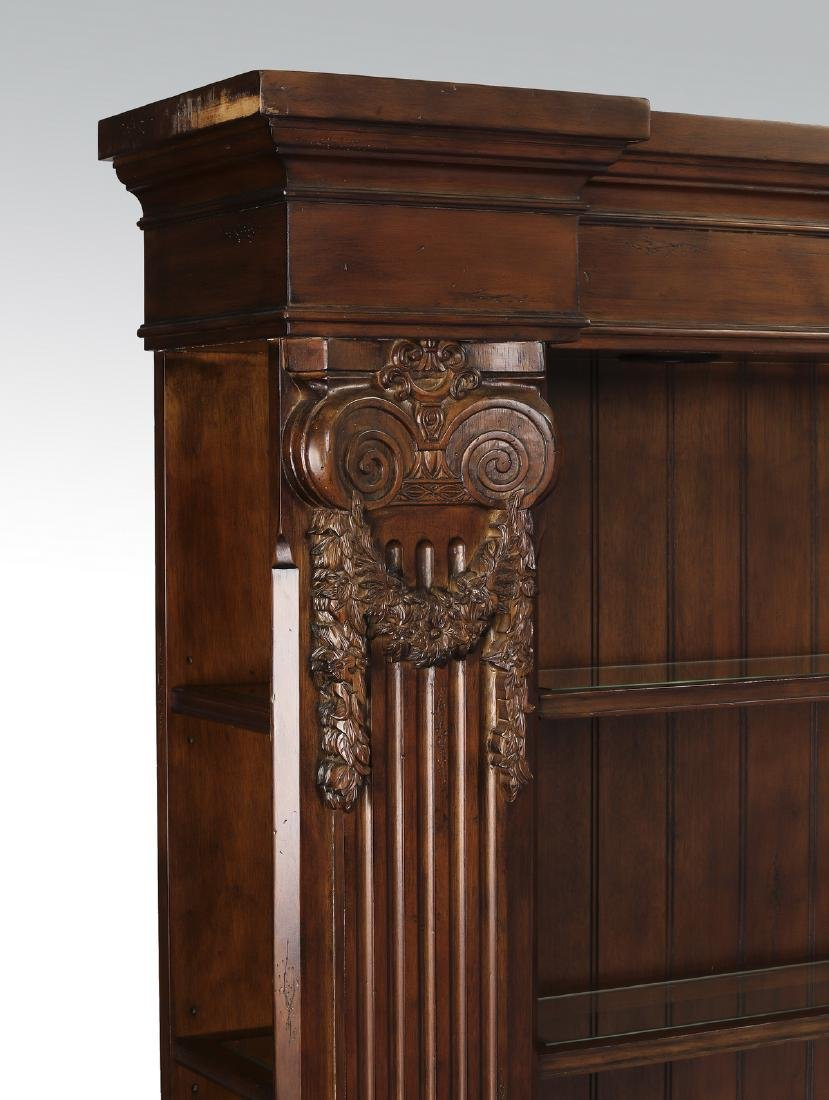 Neoclassical style mahogany bookcase w/ lights - 3