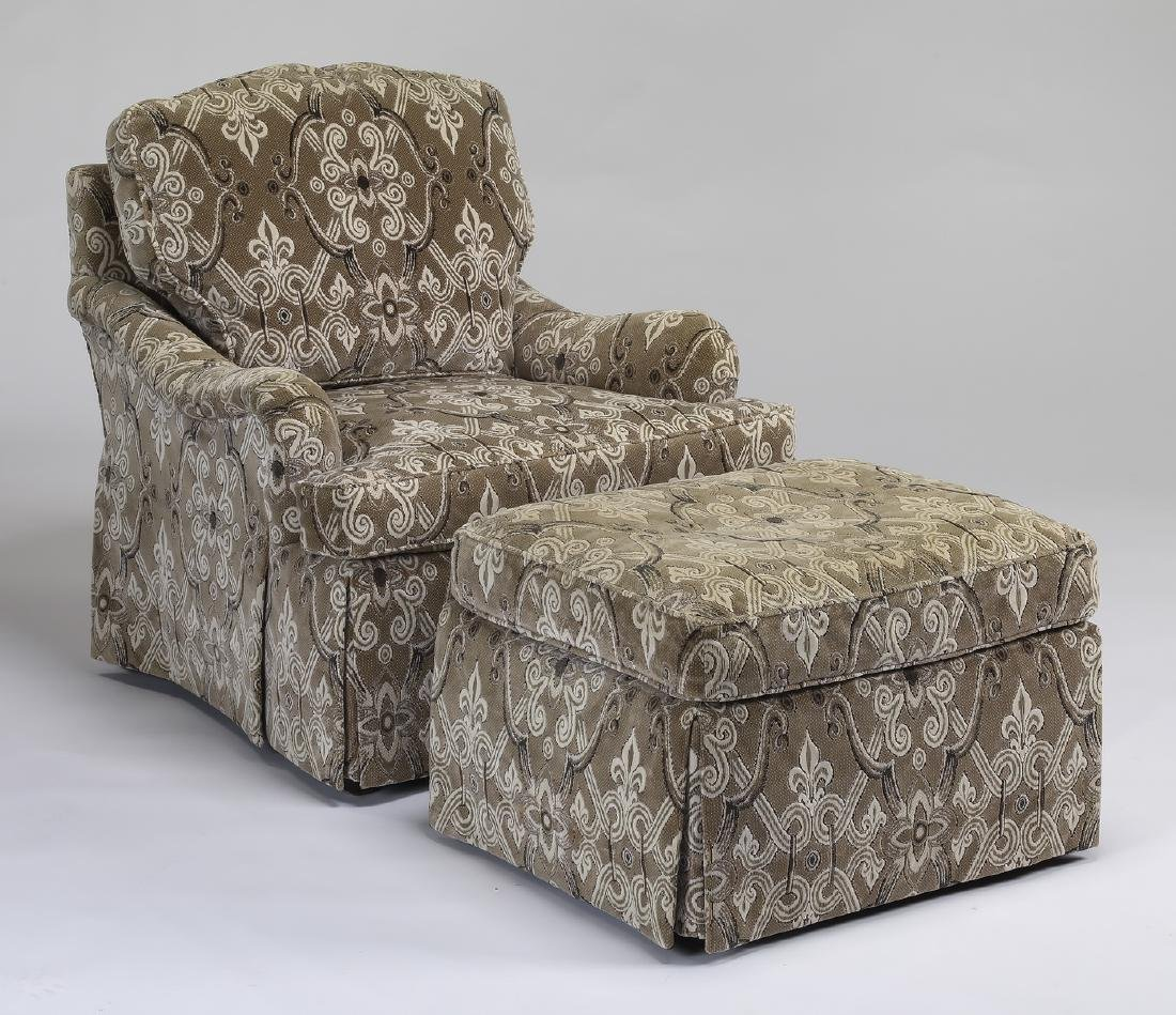 Baker Furniture upholstered armchair and ottoman