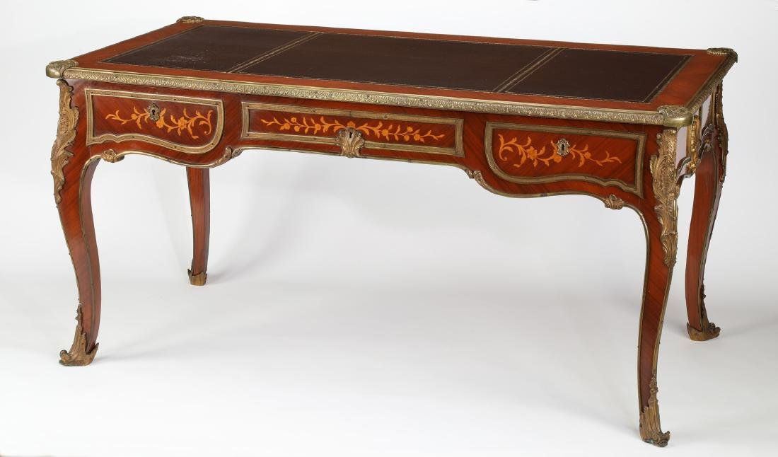 Early 20th c.satinwood inlaid desk w/ bronze mounts