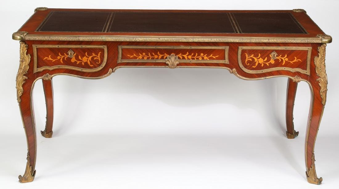 Early 20th c.satinwood inlaid desk w/ bronze mounts - 2