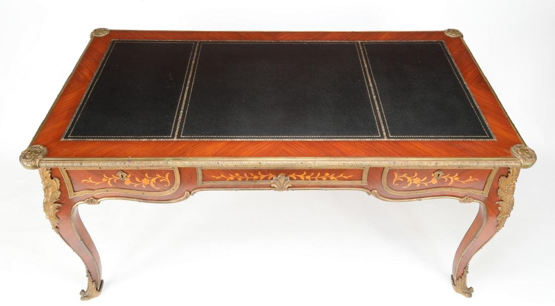 Early 20th c.satinwood inlaid desk w/ bronze mounts - 4