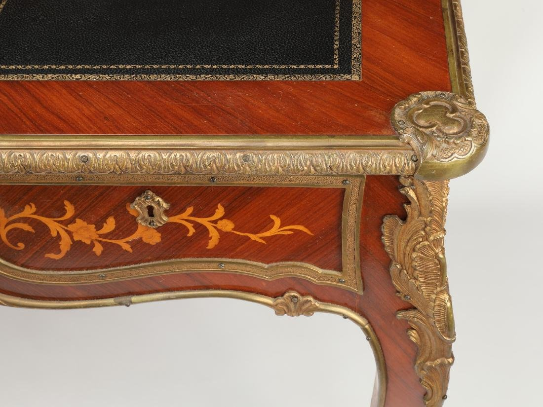 Early 20th c.satinwood inlaid desk w/ bronze mounts - 5