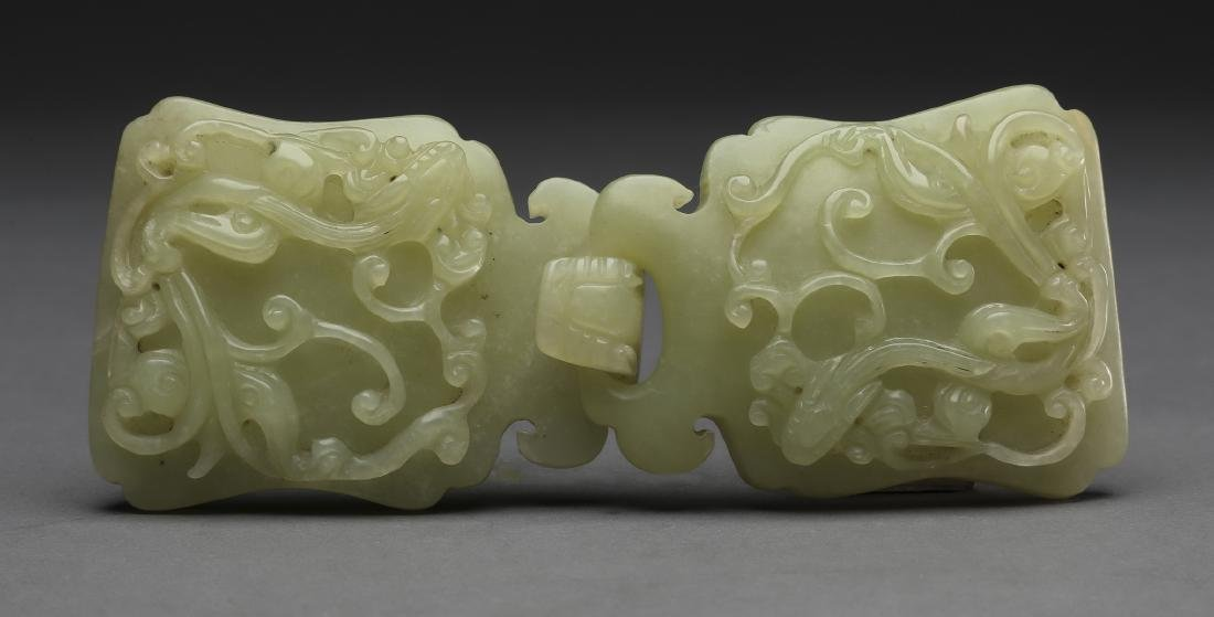 2 pc. Chinese celadon jade belt buckle