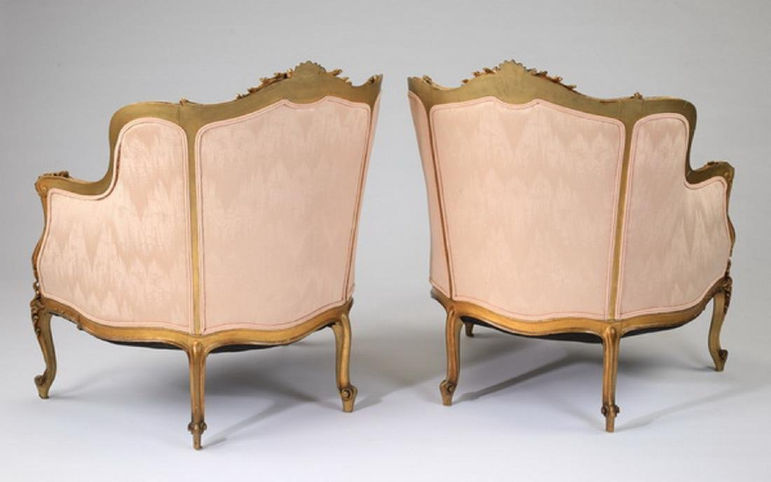 (2) Louis XV style gilt wood bergeres in peach moire' - 2