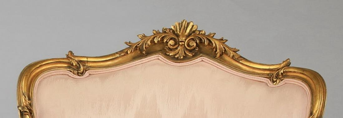 (2) Louis XV style gilt wood bergeres in peach moire' - 3