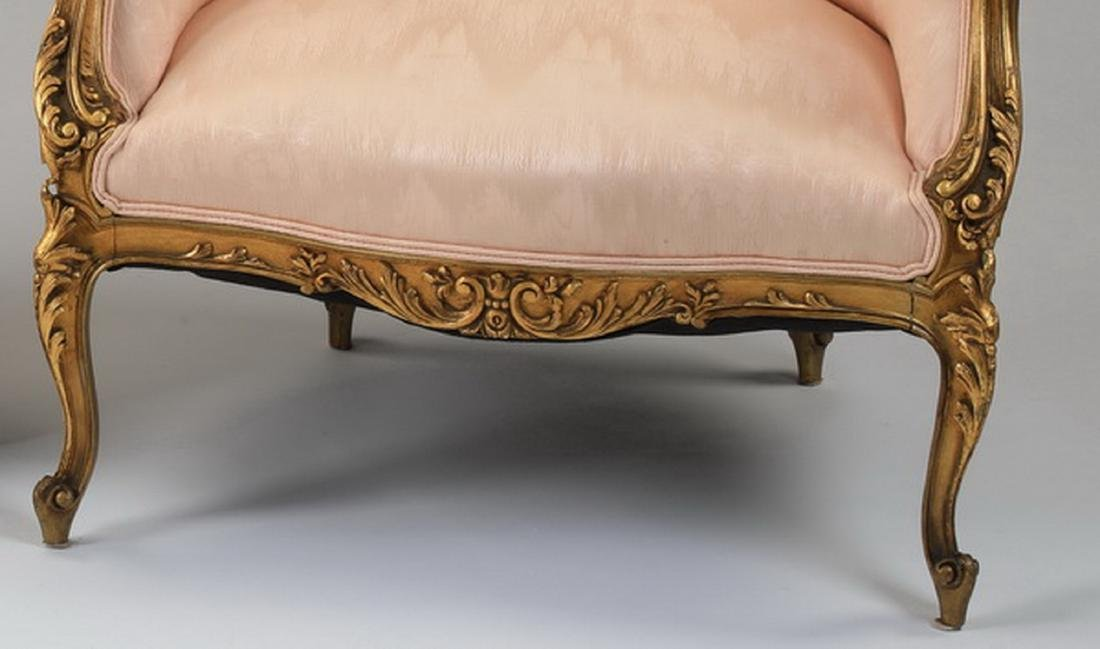 (2) Louis XV style gilt wood bergeres in peach moire' - 4