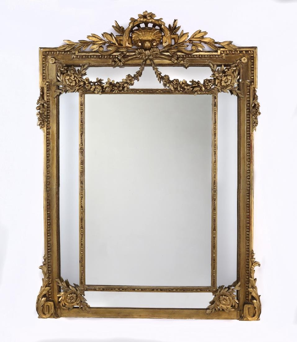 """19th c. Continental carved gilt wood mirror, 74""""h"""